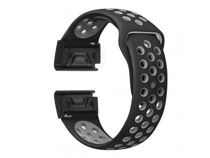 Silikonový gumový řemínek pro Garmin Fenix 22 mm EASYFIT/QUICKFIT SPORT černý/šedý