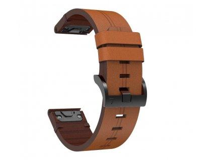 Kožený řemínek STYLE pro Garmin Fenix 26mm - hnědý EASYFIT/QUICKFIT