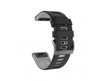Silikonový gumový řemínek pro Garmin Fenix 26 mm COLOR černý/šedý EASYFIT/QUICKFIT