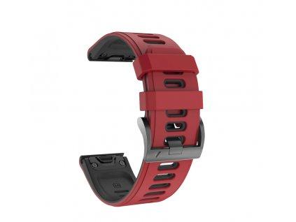 Silikonový gumový řemínek pro Garmin Fenix 22 mm COLOR světle červený/černý EASYFIT/QUICKFIT