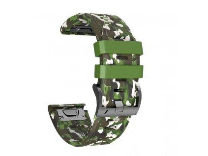 Silikonový gumový řemínek pro Garmin Fenix 26 mm CAMO maskáčový zelený EASYFIT/QUICKFIT
