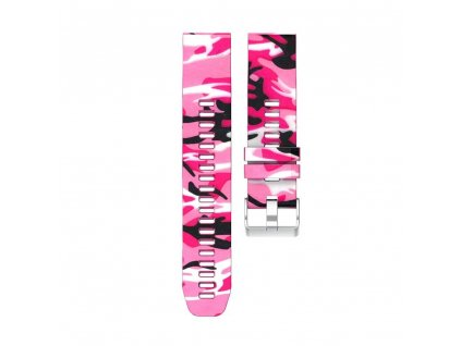 Silikonový gumový řemínek pro Garmin Fenix 22 mm CAMO maskáčový růžový EASYFIT/QUICKFIT