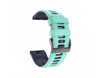 Silikonový gumový řemínek pro Garmin Fenix 5s/6s 20 mm COLOR tyrkysový/tmavě modrý QuickFit