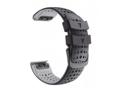 Silikonový gumový řemínek pro Garmin Fenix 22 mm AIR černý/šedý EASYFIT/QUICKFIT