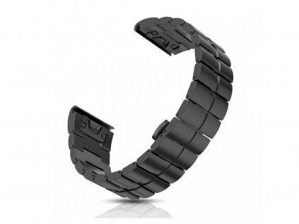 Kovový  titanový řemínek pro Garmin Fenix 26 mm černý EASYFIT/QUICKFIT
