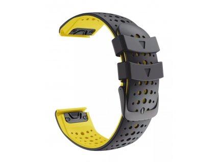 Silikonový gumový řemínek pro Garmin Fenix 22 mm AIR černý/žlutý EASYFIT/QUICKFIT