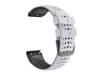 Silikonový gumový řemínek pro Garmin Fenix 22 mm AIR bílý/černý EASYFIT/QUICKFIT