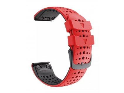 Silikonový gumový řemínek pro Garmin Fenix 22 mm AIR červený/černý EASYFIT/QUICKFIT