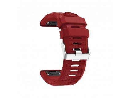 Silikonový gumový řemínek pro Garmin Fenix 26 mm soft červený EASYFIT/QUICKFIT