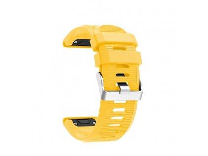 Silikonový gumový řemínek pro Garmin Fenix 26 mm soft žlutý EASYFIT/QUICKFIT