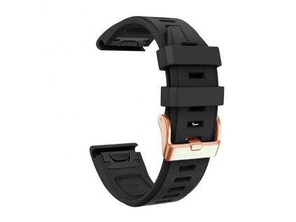 Silikonový gumový řemínek pro Garmin Fenix 5s/6s 20 mm LINE černý QuickFit rose gold růžová přezka