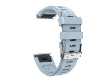 Silikonový gumový řemínek pro Garmin Fenix 5s/6s 20 mm LINE sea modrý QuickFit stříbrná přezka