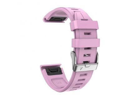 Silikonový gumový řemínek pro Garmin Fenix 5s/6s 20 mm LINE růžový QuickFit stříbrná přezka