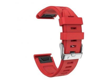 Silikonový gumový řemínek pro Garmin Fenix 5s/6s 20 mm LINE červený QuickFit stříbrná přezka