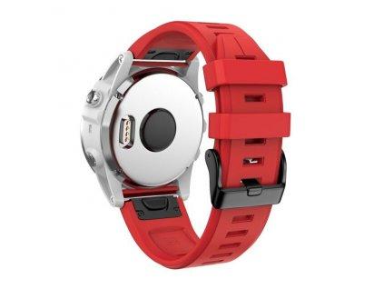 Silikonový gumový řemínek pro Garmin Fenix 5s/6s 20 mm LINE červený QuickFit černá přezka
