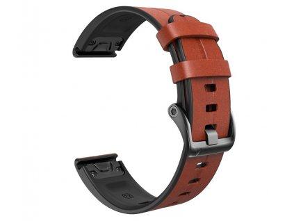 Kožený silikonový řemínek COMFORT tmavě hnědý pro Garmin Fenix 26mm EASYFIT/QUICKFIT