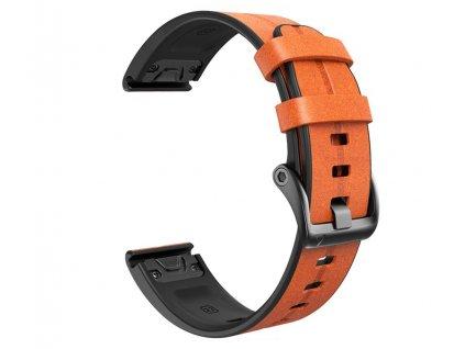 Kožený silikonový řemínek COMFORT světle hnědý pro Garmin Fenix 26mm EASYFIT/QUICKFIT