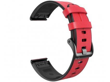 Kožený silikonový řemínek COMFORT červený pro Garmin Fenix 26mm EASYFIT/QUICKFIT