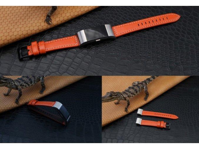 Silikonový gumový řemínek pro FitBit Charge 3 kožený oranžový