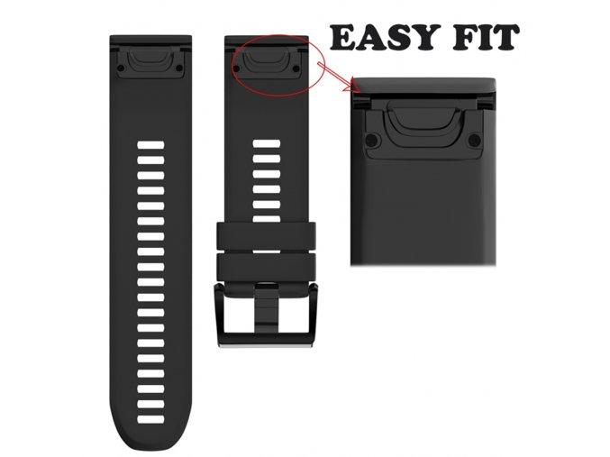 Silikonový gumový řemínek pro Garmin Fenix 5s/5s Plus EASY FIT 20 černý