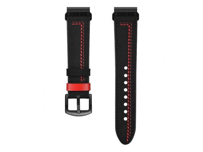 Kožený řemínek REDLINE pro Garmin Fenix 22mm - černý EASYFIT/QUICKFIT