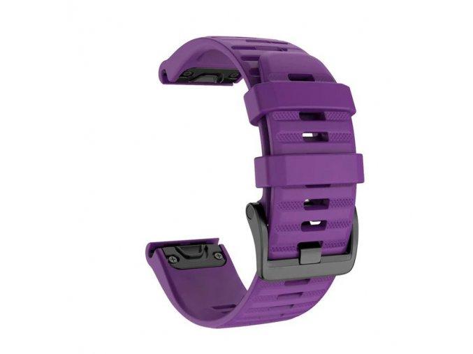 Silikonový gumový řemínek pro Garmin Fenix 20 mm WAVE fialový EASYFIT/QUICKFIT