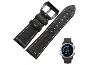 Kožený řemínek pro Garmin Fenix (3,5X) 26mm - style černý