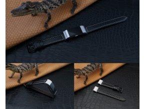 Silikonový gumový řemínek pro FitBit Charge 3 kožený černý