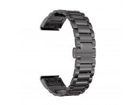 Ocelový kovový řemínek pro Garmin FENIX5/FORERUNNER 935 22 mm - černý