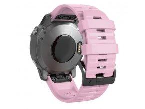 Silikonový gumový řemínek pro Garmin Fenix 26 mm WAVE růžový EASYFIT/QUICKFIT