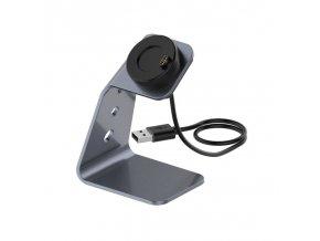 Nabíječka nabíjecí USB dok stojan pro Garmin Fenix kovový tmavý