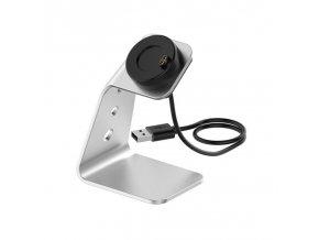 Nabíječka nabíjecí USB dok stojan pro Garmin Fenix kovový světlý