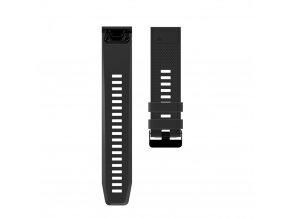 Silikonový gumový řemínek pro Garmin Fenix 26 mm CLASSIC černý EASYFIT/QUICKFIT