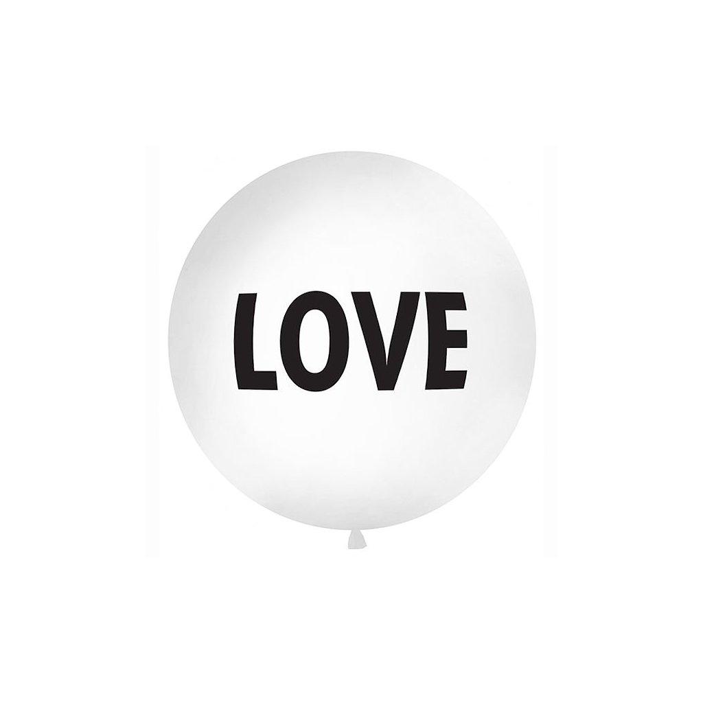 Balon latexový Jumbo bílý s černým nápisem LOVE 1 m