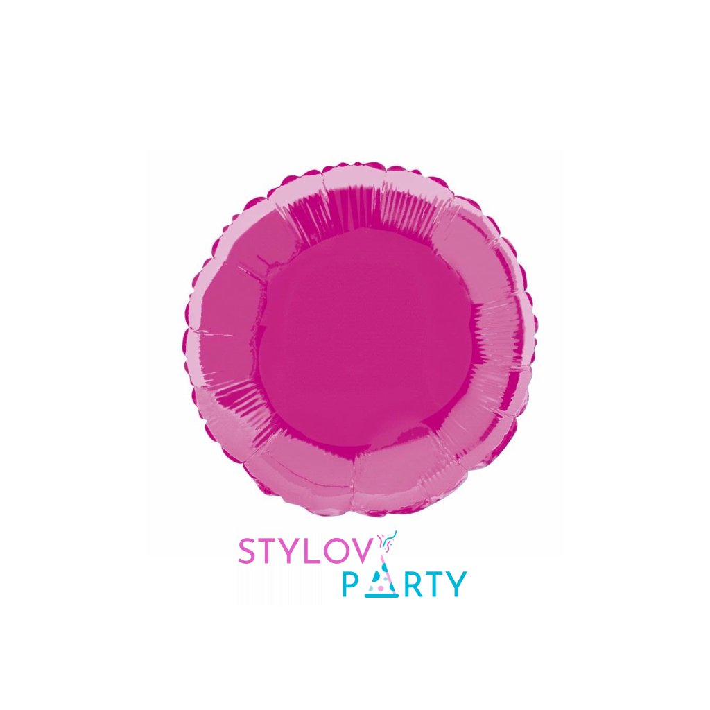 Balon kruhový foliový tmavě růžový 46 cm