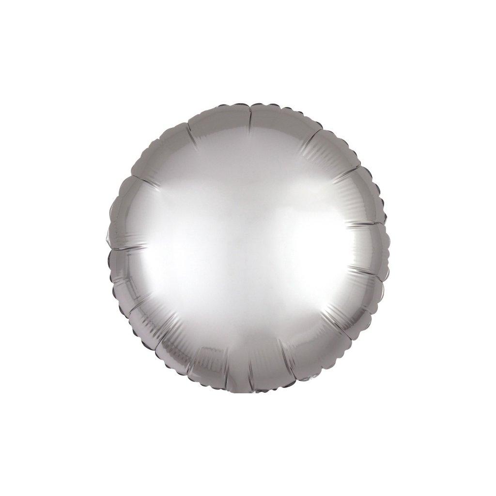 Balon kruhový foliový platinový 43 cm