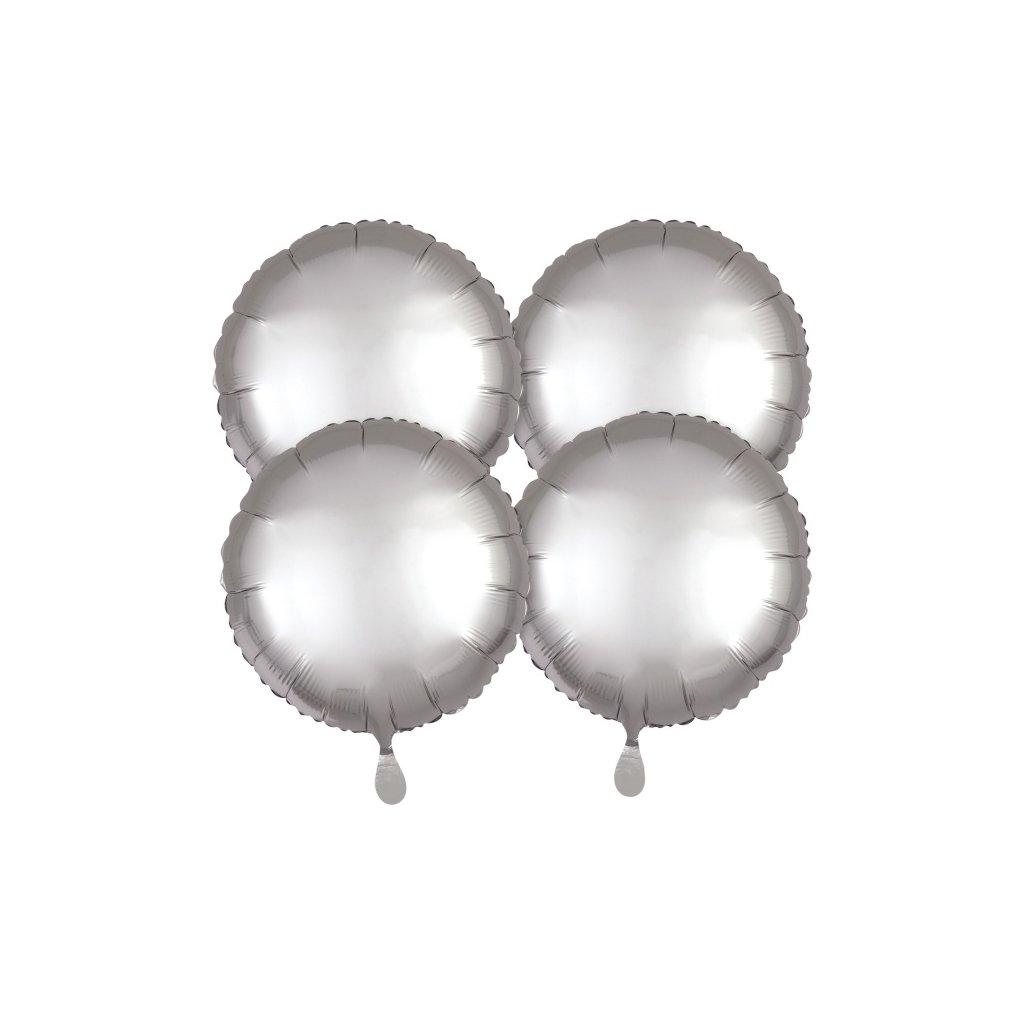 BALÓNKY fóliové kruhové platinové 4ks