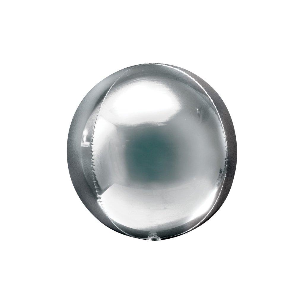Balonek foliový koule ORBZ stříbrná 38x40cm