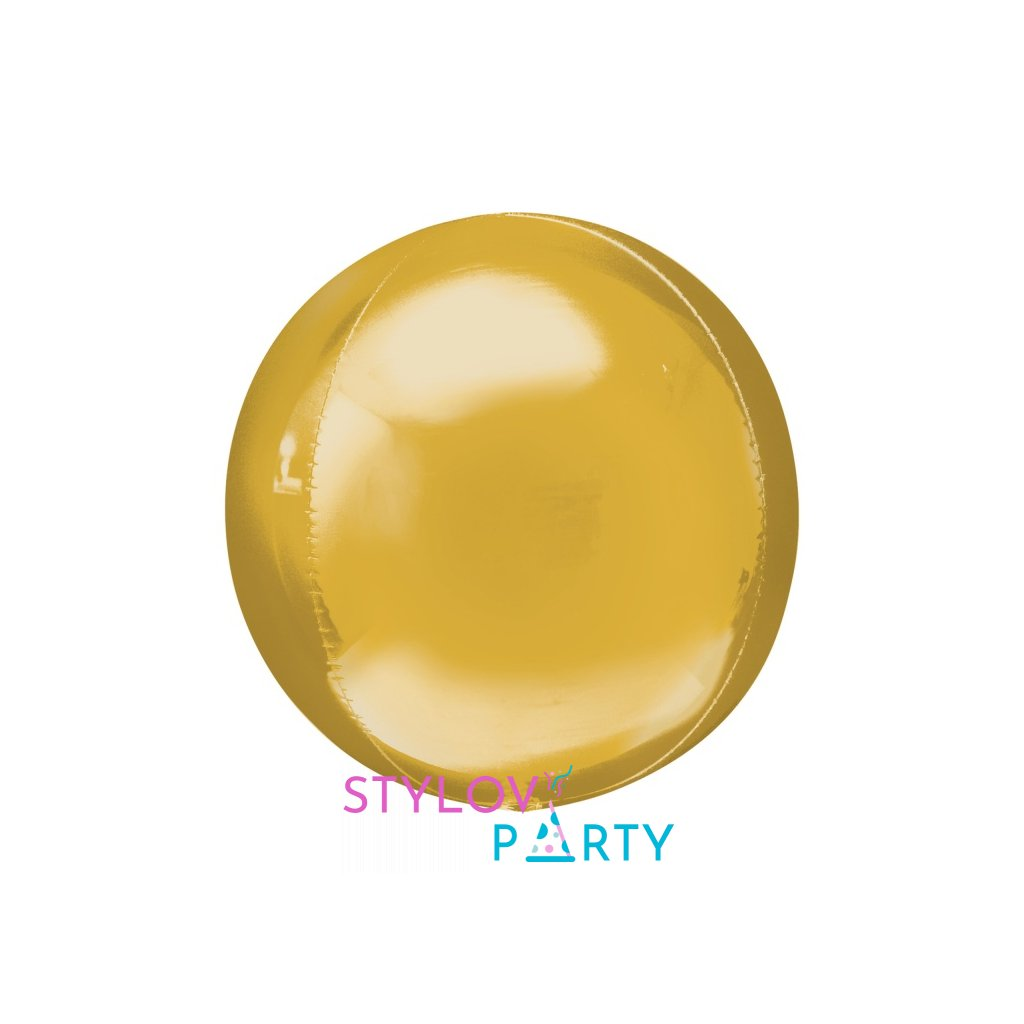 Balonek foliový koule ORBZ zlatá 38x40cm