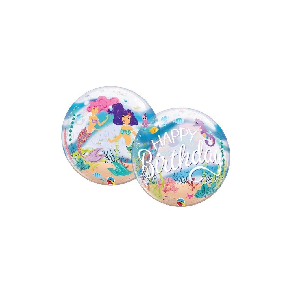 Balonek Bubbles Happy Birthday Mořská víla 56cm