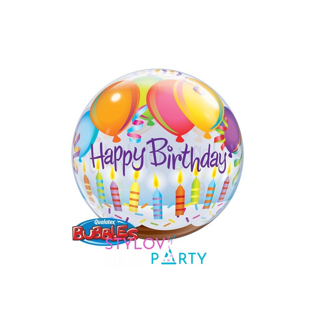 Balonek Bubbles Happy Birthday balónky a svíčky 56cm