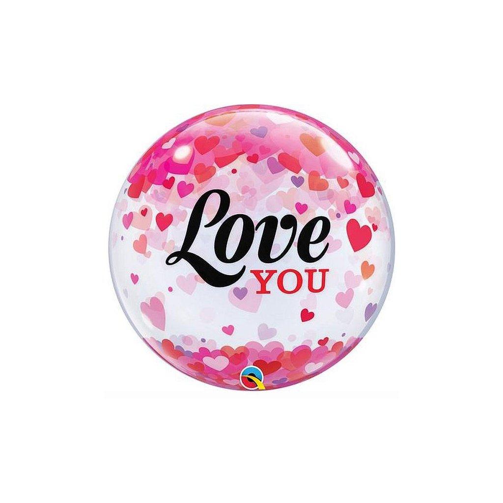 Balonek Bubbles Love You 56cm