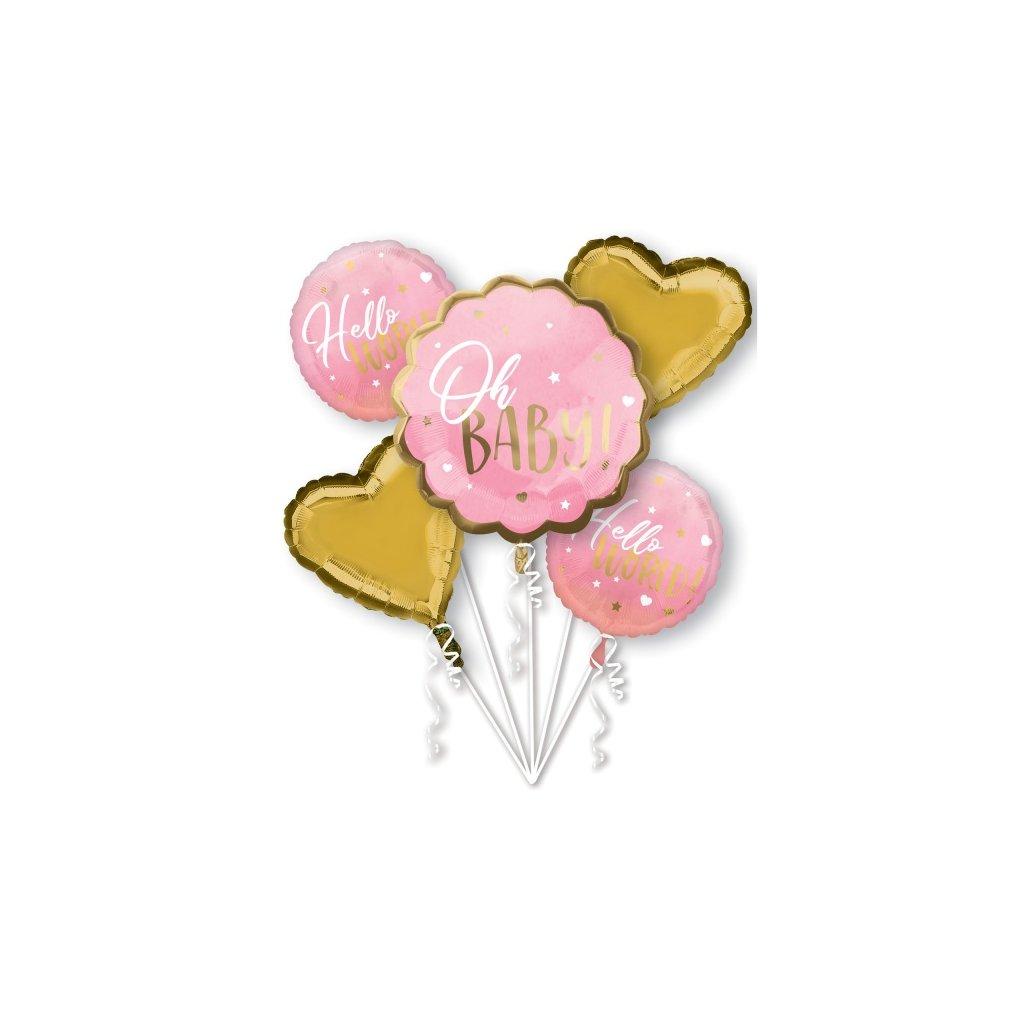 Buket foliových balonků Baby Girl růžovo-zlatý 5ks