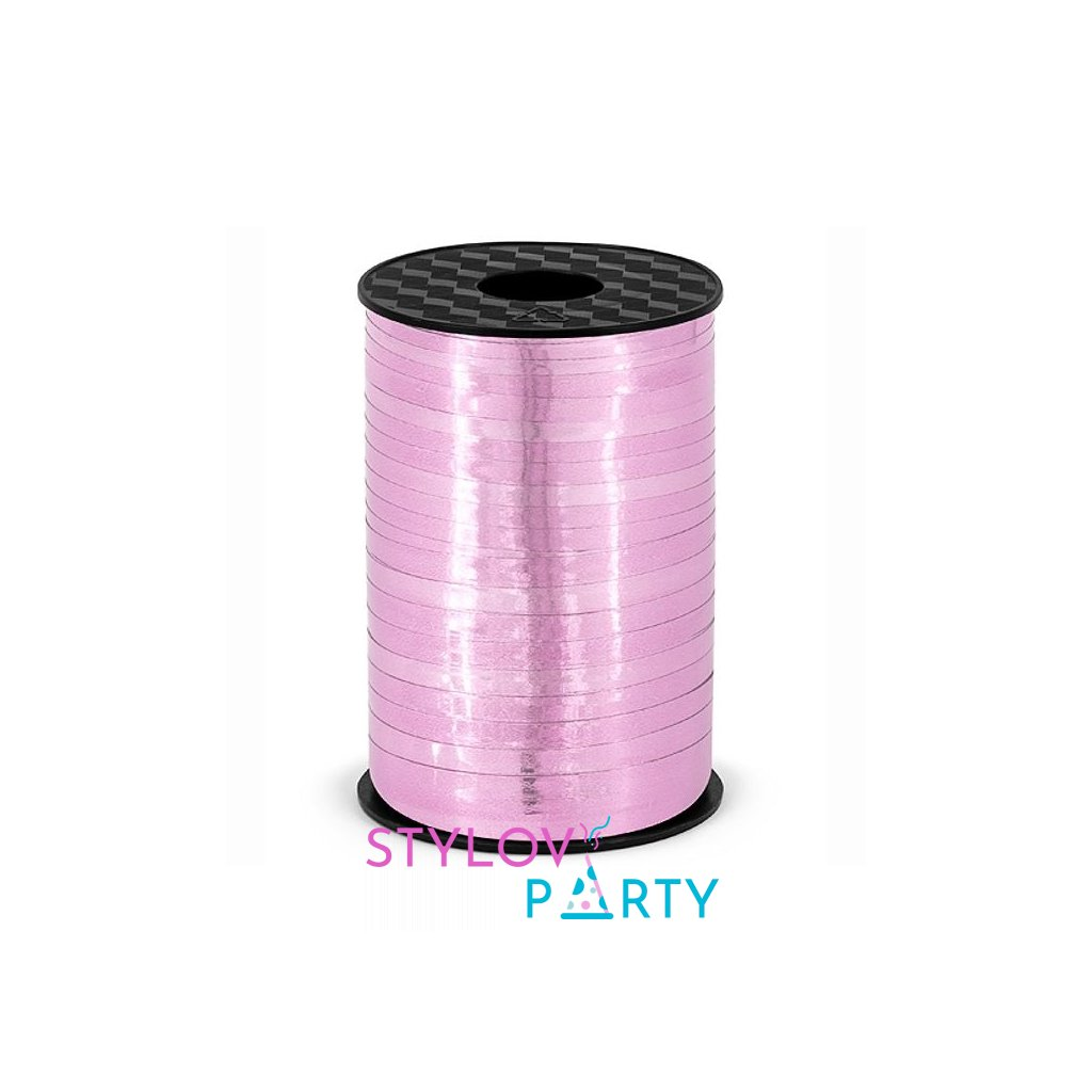 Stuha plastová vázací metalická růžová 5mm/225m
