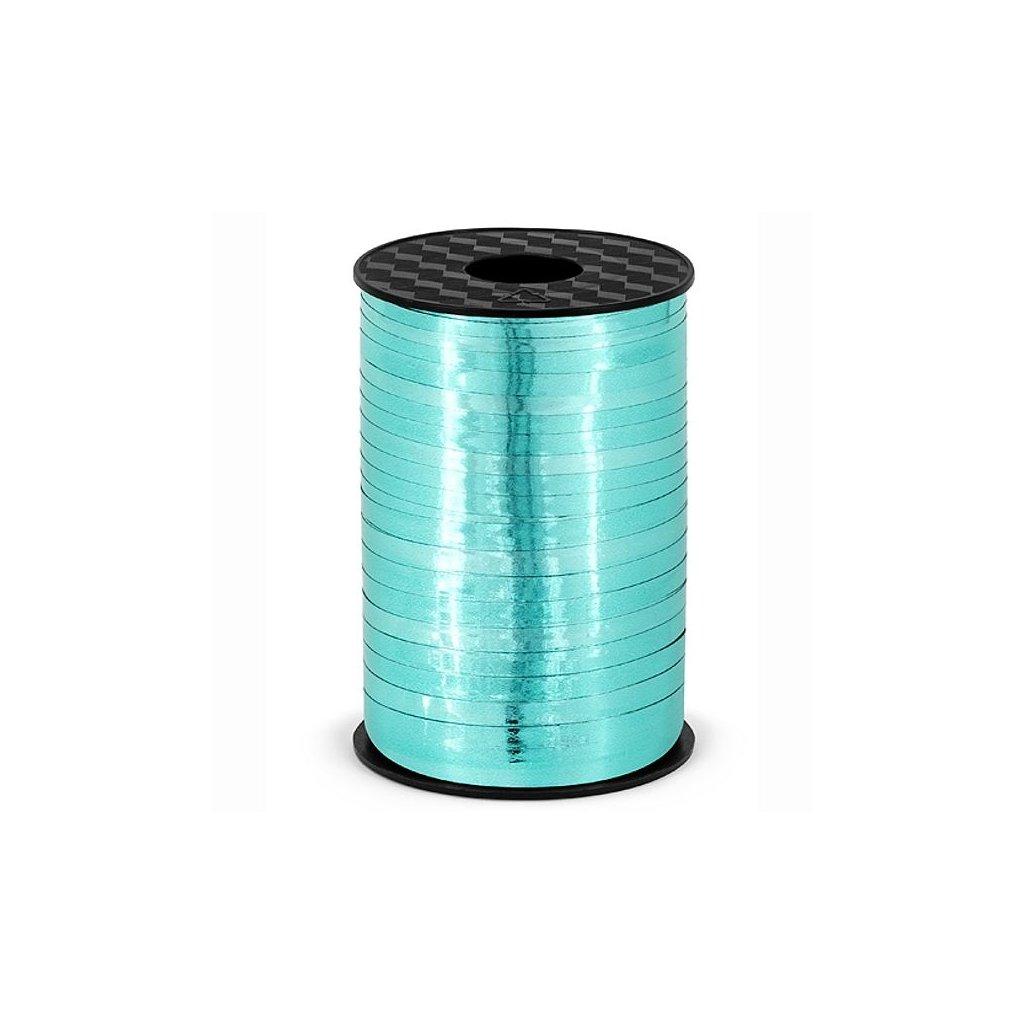 Stuha plastová vázací metalická tyrkysová 5mm/225m