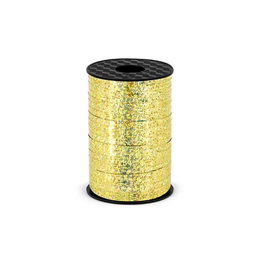 Stuha plastová vázací holografická zlatá 5mm/225m