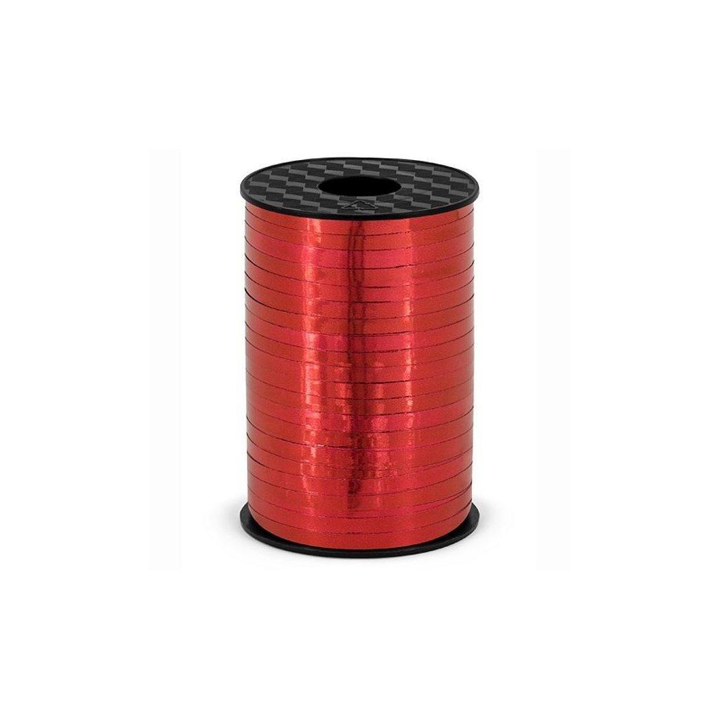 Stuha plastová vázací metalická červená 5mm/225m