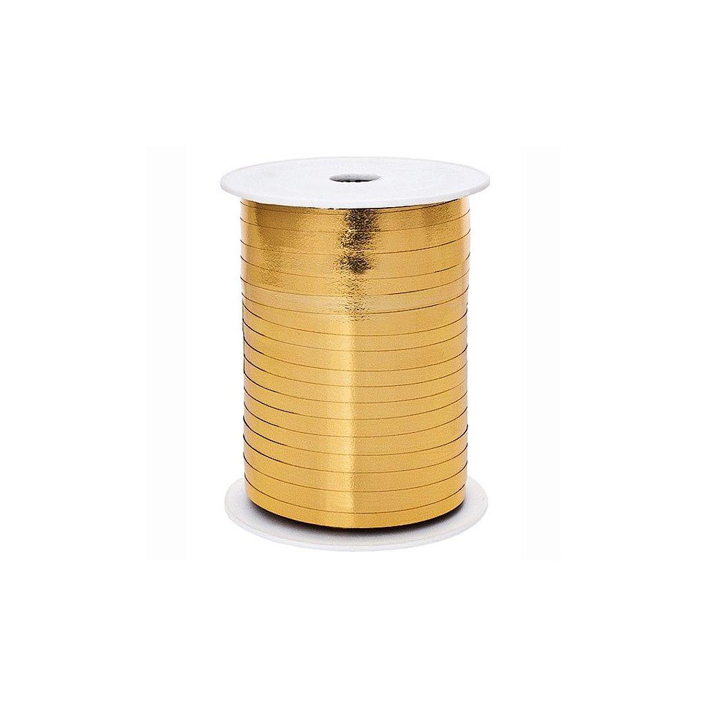 Stuha plastová vázací metalická zlatá 5mm/225m