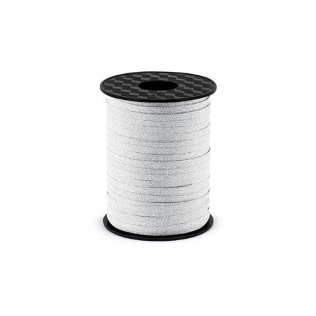 Stuha plastová vázací třpytivá stříbrná 5mm/225m