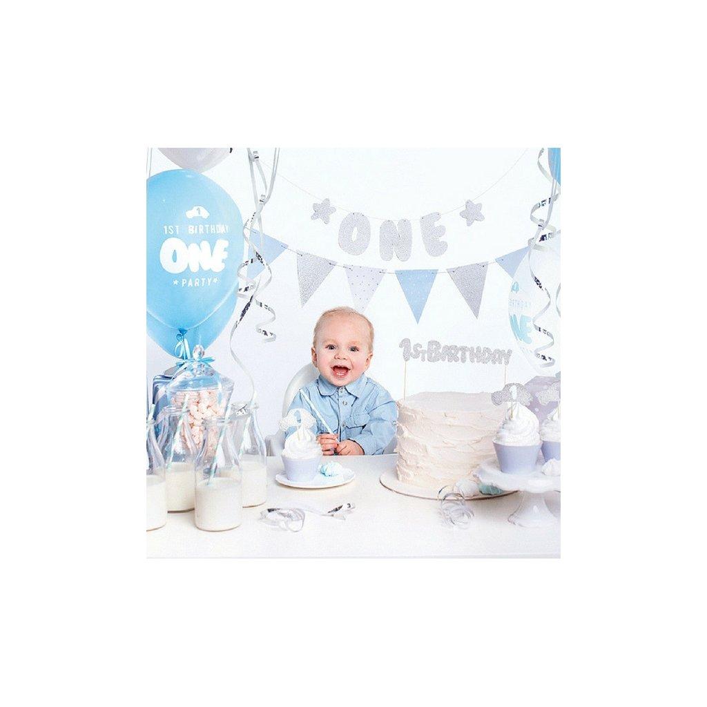 """Sada 1. narozeniny stříbrnomodrá """"One"""""""